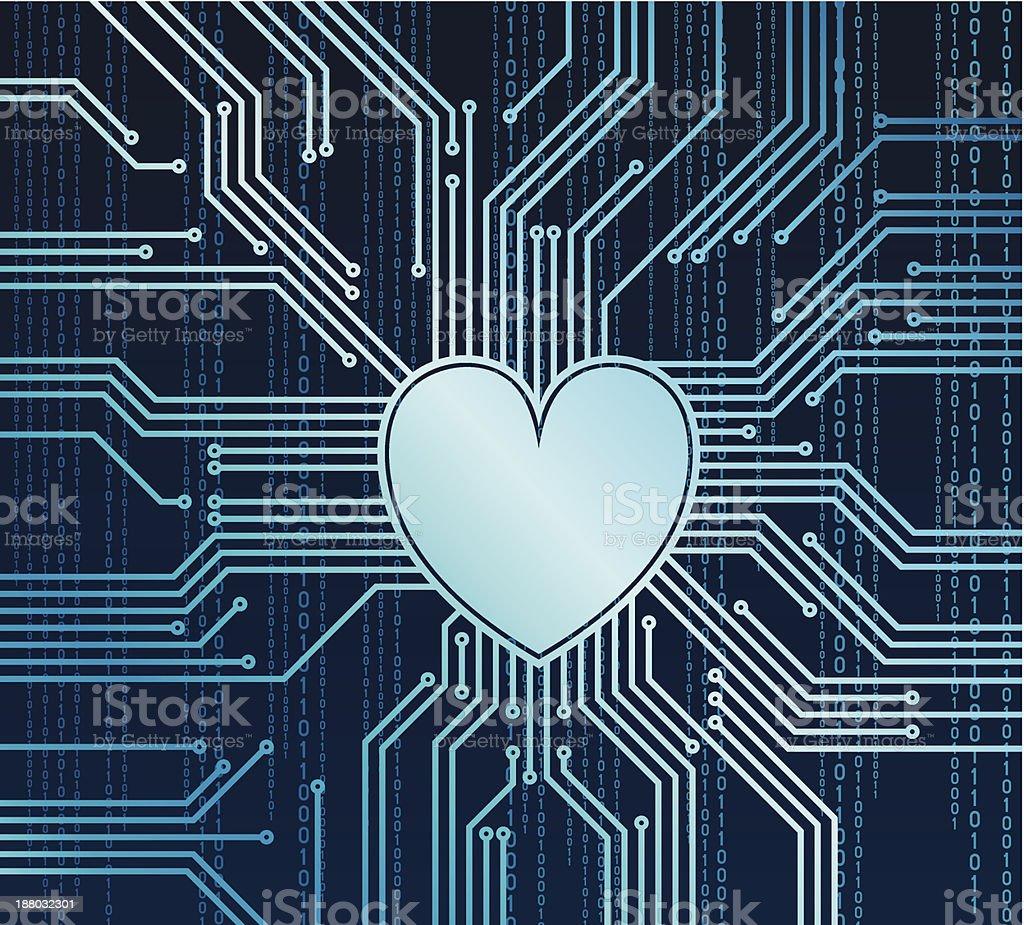 Computer heart vector art illustration