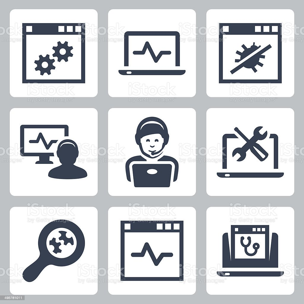 Computer help-line vector icons set vector art illustration
