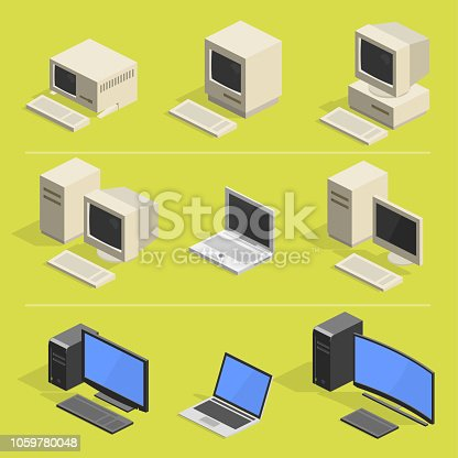 history of computer - isometric icons