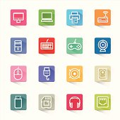 Computer icon set and white background