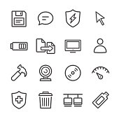 Computer Icon Set - Line Series