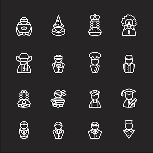 computer icon set sixteen human white silhouette icons isolated on black chief justice stock illustrations
