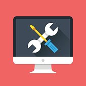 Computer icon with wrench and screwdriver on screen. Computer repair services, technical support, maintenance concepts. Modern flat design graphic elements. Vector illustration