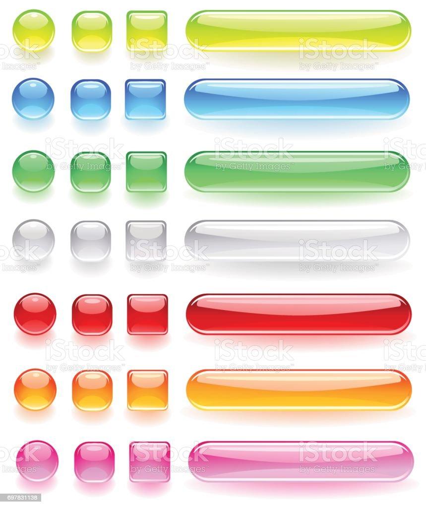 iconos de la computadora del vidrio coloreado brillante - ilustración de arte vectorial
