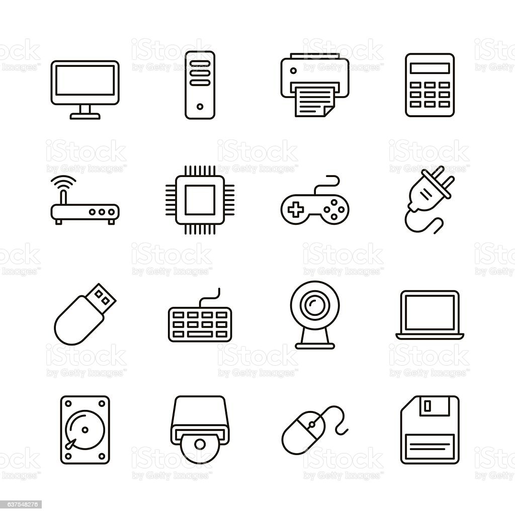 Computer icons - Line Series vector art illustration