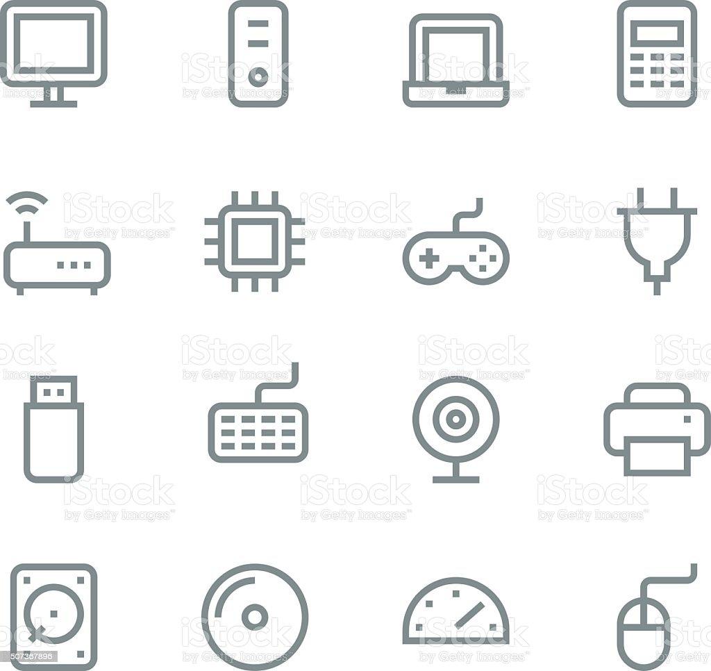 Computer icons - line vector art illustration