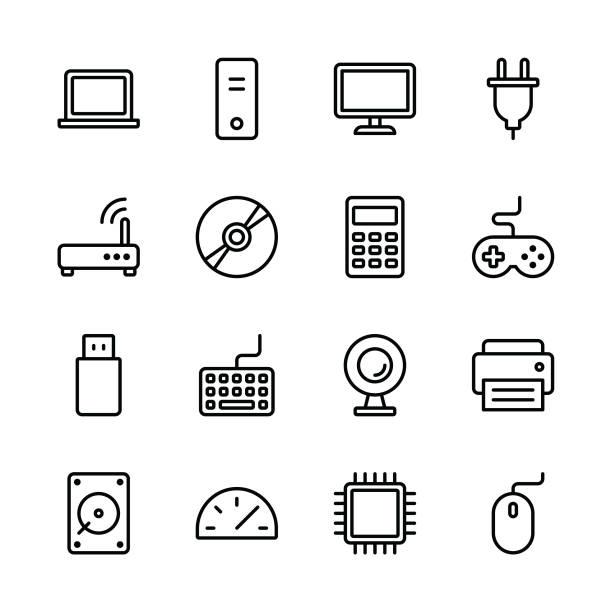 illustrazioni stock, clip art, cartoni animati e icone di tendenza di computer icons - line - calcolatrice