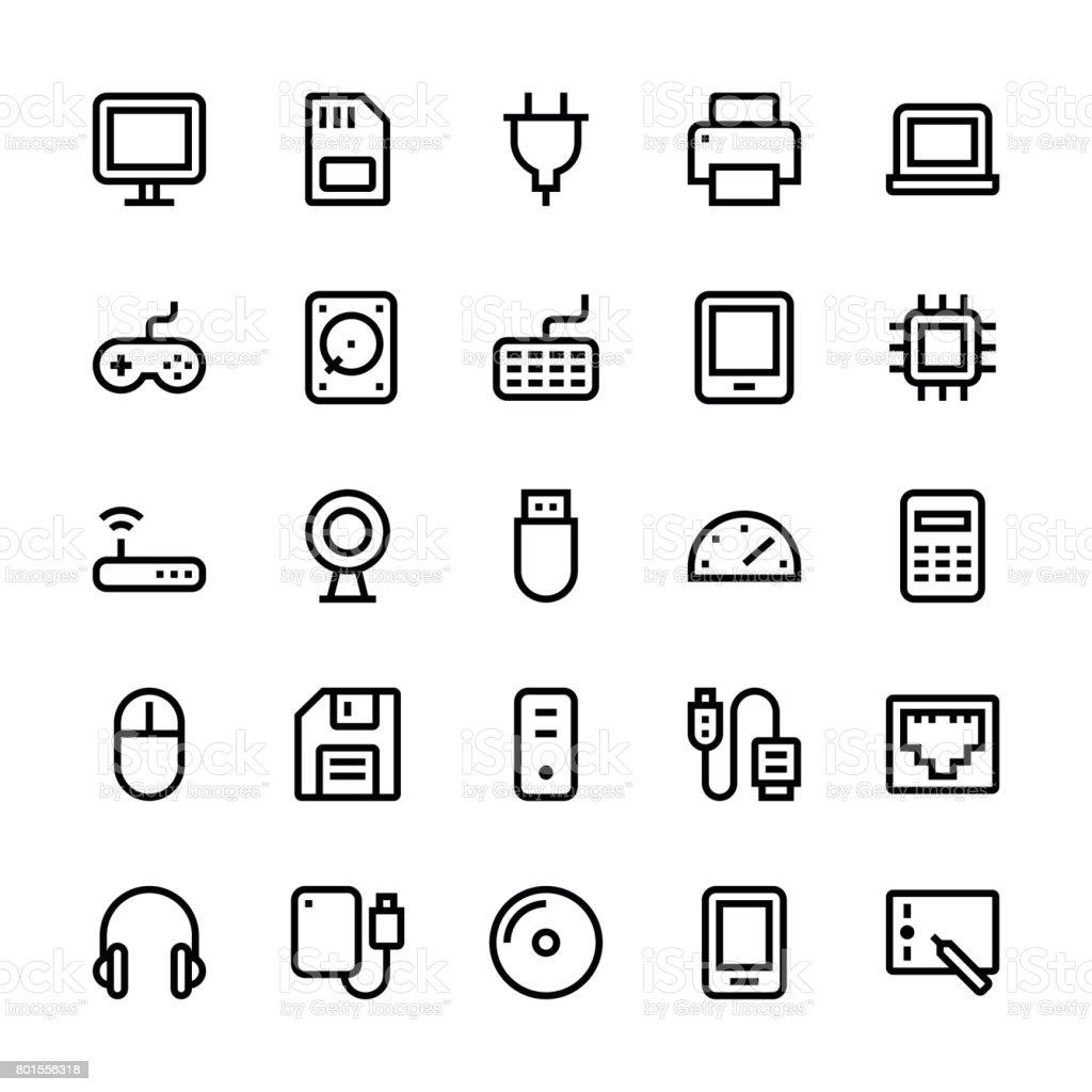 Computer icons - Medium Line vector art illustration