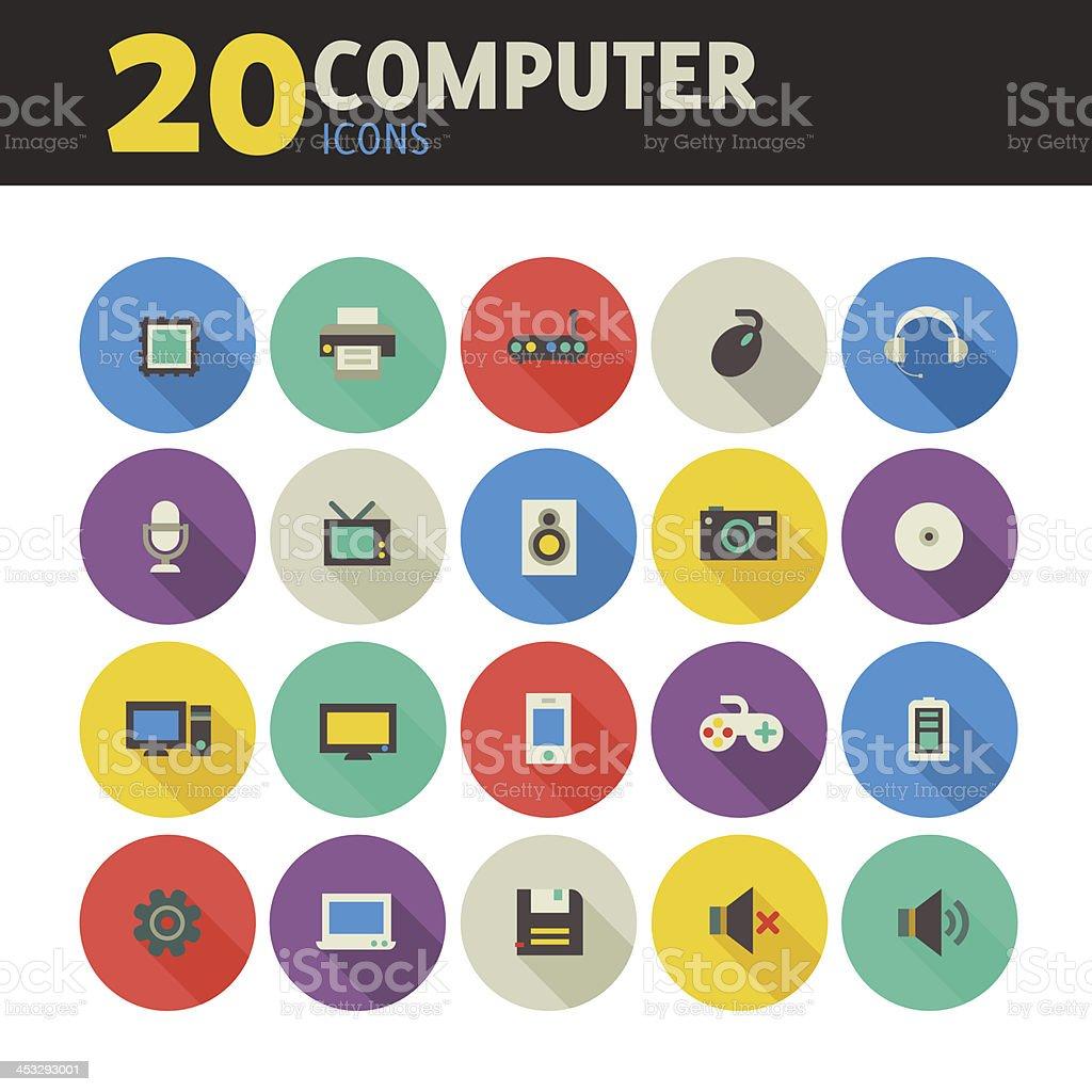 Computer icons on circles vector art illustration