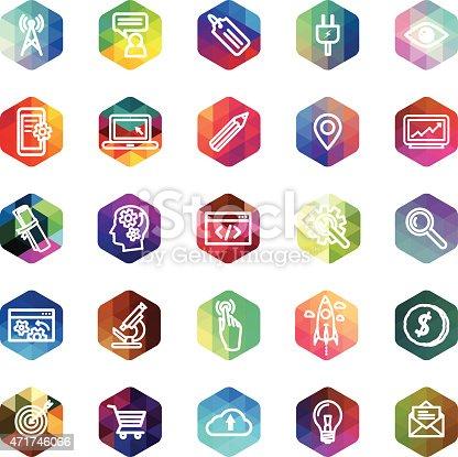 Computer icons development symbols. on hexagon mosaic buttons. Eps8.