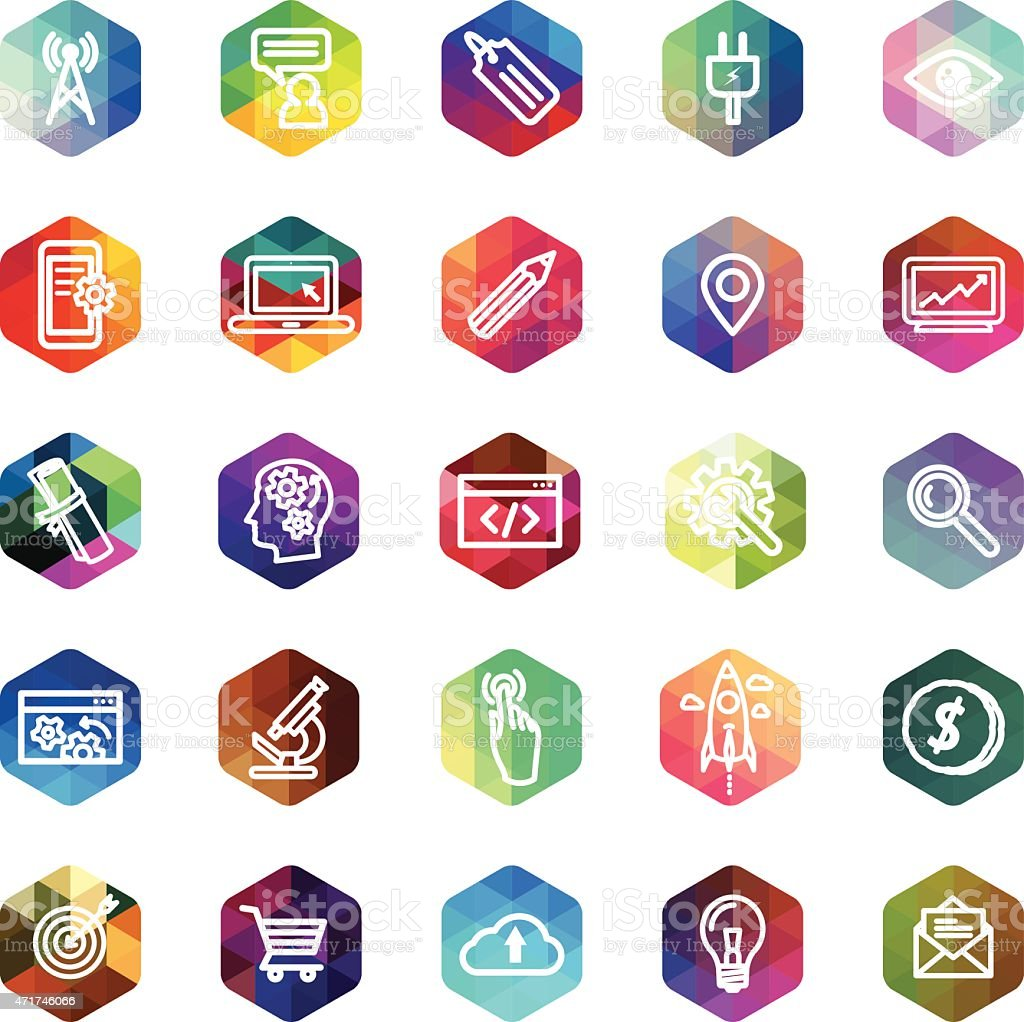 Computer icons on hexagon mosaic buttons vector art illustration
