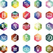 Computer icons on hexagon mosaic buttons