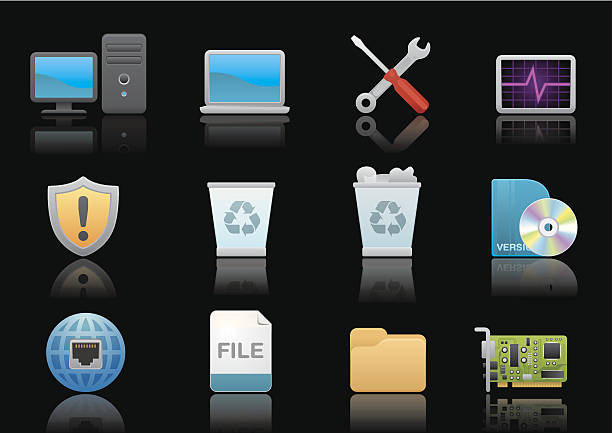 Computer icons | Premium Black series Matte & soft lookin' icon set for your web page, interactive, presentation, print, and all sorts of design need. desktop pc stock illustrations