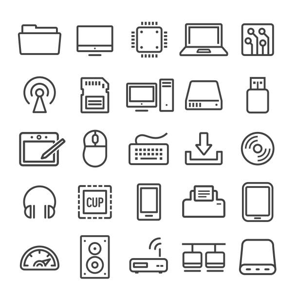 computer icons set - smart line series - computer keyboard stock illustrations, clip art, cartoons, & icons