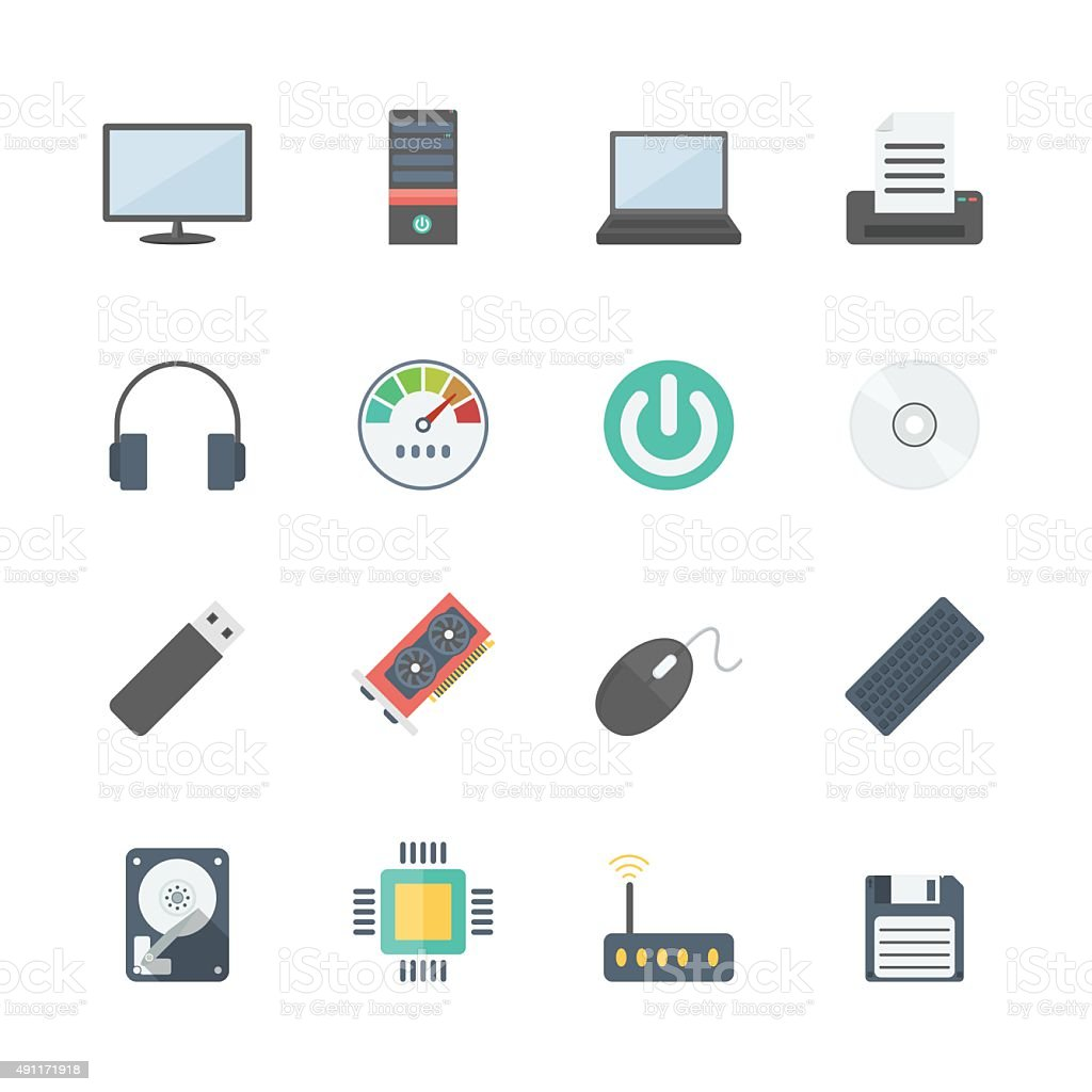computer icons set vector art illustration