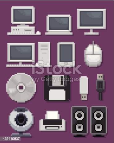 Computer icons in pixel art.