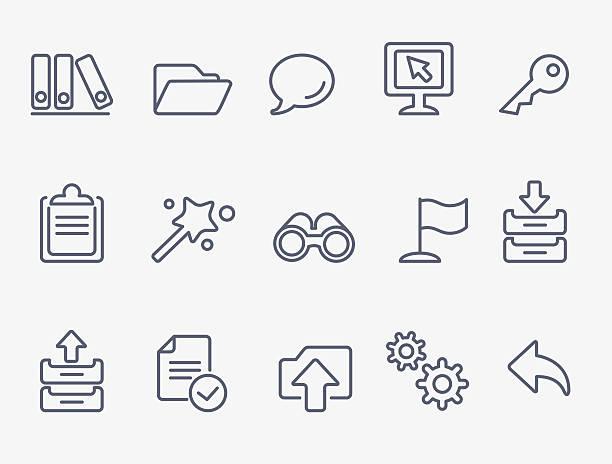 computer icons Set of 15 computer icons binoculars stock illustrations