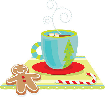 Computer illustration of holiday treats with hot chocolate