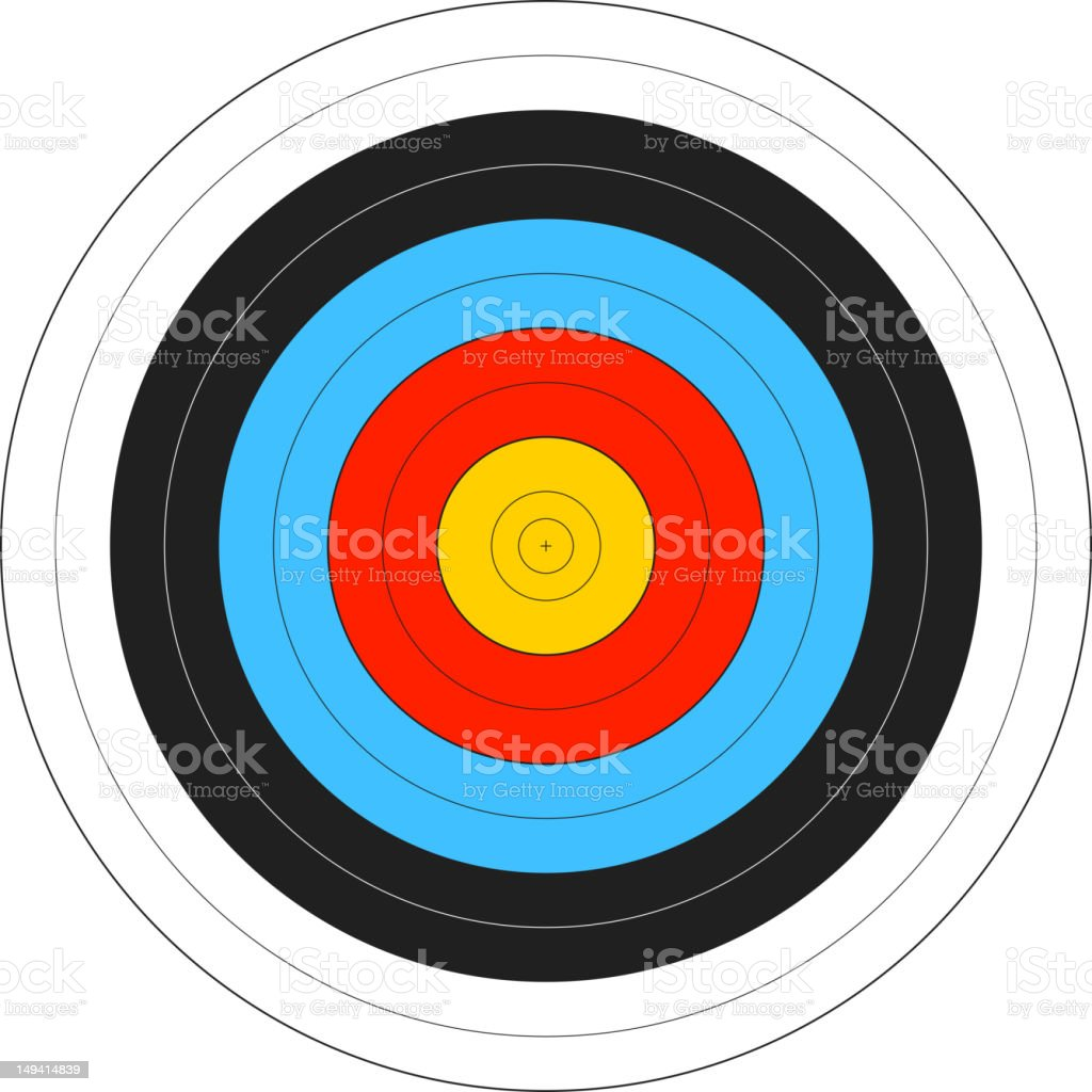 Computer image of an archery target vector art illustration