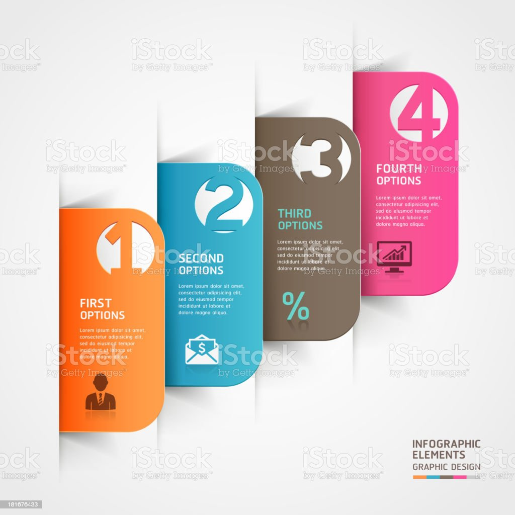 Computer image of colored infographic folder tabs vector art illustration