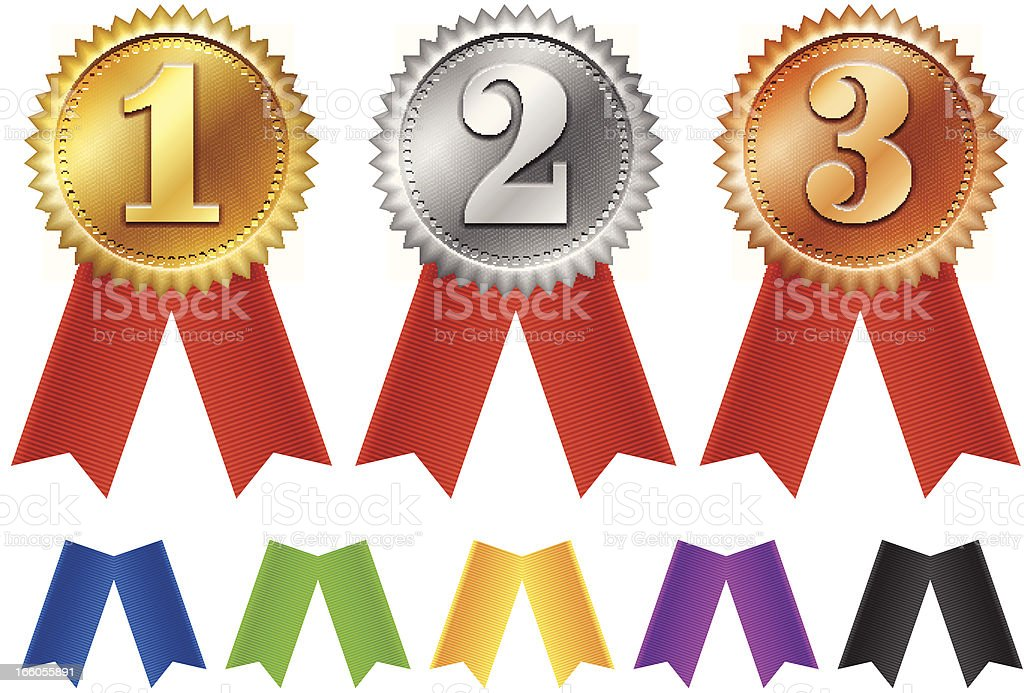 Computer image of gold, silver, and bronze ribbons  vector art illustration