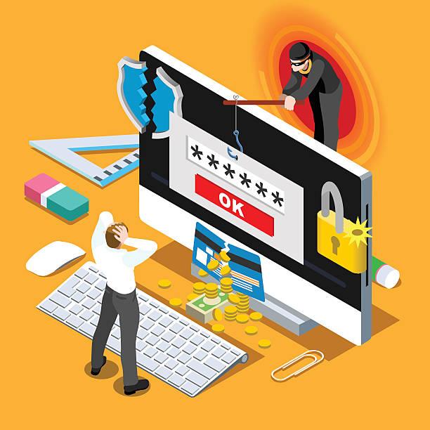 ilustraciones, imágenes clip art, dibujos animados e iconos de stock de computadora infección infografía plano isométrica personas concepto hacker spam phishing - robo de identidad