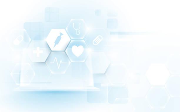 電腦介面作為醫學圖示虛擬螢幕。抽象幾何六邊形醫學與科學概念背景 - 健康科技 幅插畫檔、美工圖案、卡通及圖標