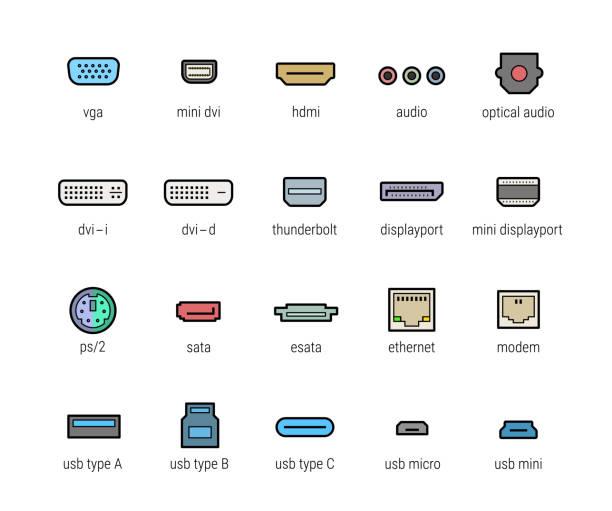 stockillustraties, clipart, cartoons en iconen met computer-interfacepoorten vector icon set - hdri landscape