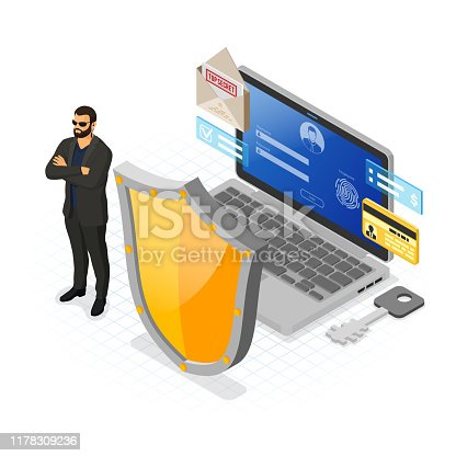 Computer Cyber Internet and personal Data security Protection banner. Laptop with Shield security guard Login and Fingerprint Form. VPN antivirus hacking concept isometric isolated vector illustration