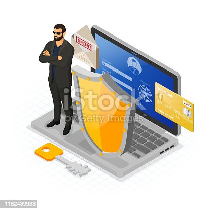 Computer Internet personal Data security Protection banner Laptop with confidential data protection shield security guard Login Fingerprint Form antivirus hacking isometric isolated vector