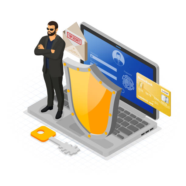 Computer Internet and Personal Data Security Computer Internet personal Data security Protection banner Laptop with confidential data protection shield security guard Login Fingerprint Form antivirus hacking isometric isolated vector antivirus software stock illustrations