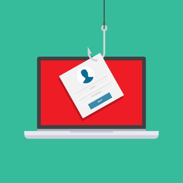 illustrazioni stock, clip art, cartoni animati e icone di tendenza di computer internet security concept - phishing