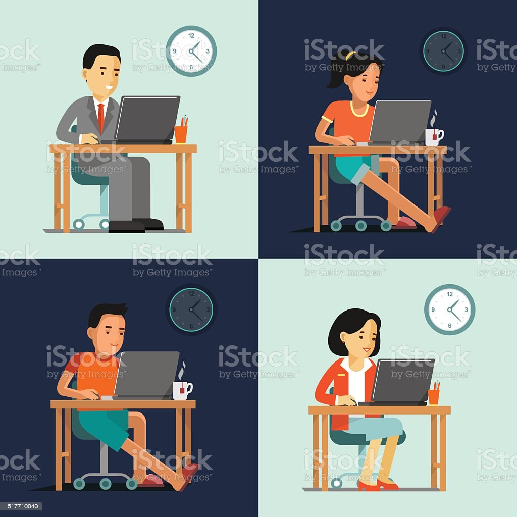 Computer internet work concept with people in office and home vector art illustration