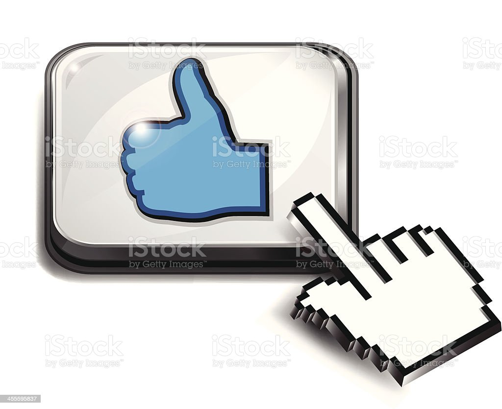 Computer Key | Thumbs Up with Hand Cursor royalty-free stock vector art