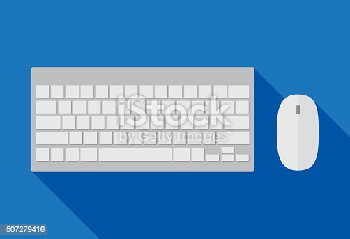 Vector illustration of a computer keyboard and mouse.
