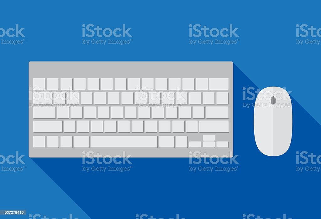 Computer Keyboard and Mouse vector art illustration