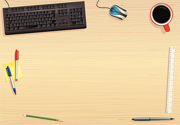 ... Computer keyboard and office desk surface vector art illustration ...
