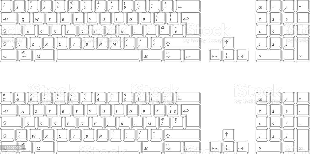 computer keyboard: qwerty and azerty (vector) vector art illustration