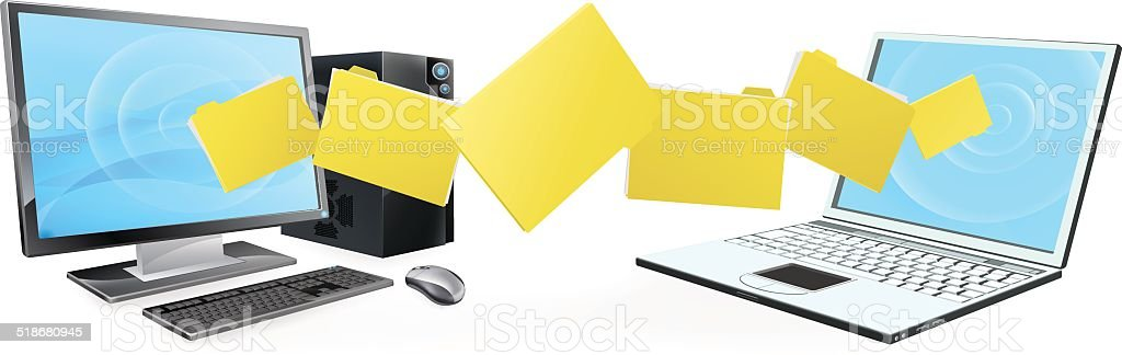 Computer laptop folder transfer vector art illustration