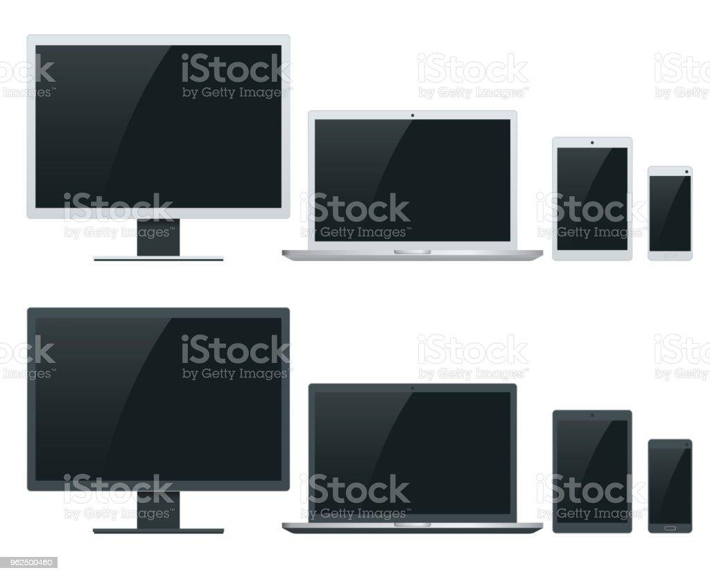 Computador, laptop, tablet e smartphone ilustrações vetoriais. Dispositivo magro no dispositivo. - Vetor de Dispositivo de informação portátil royalty-free