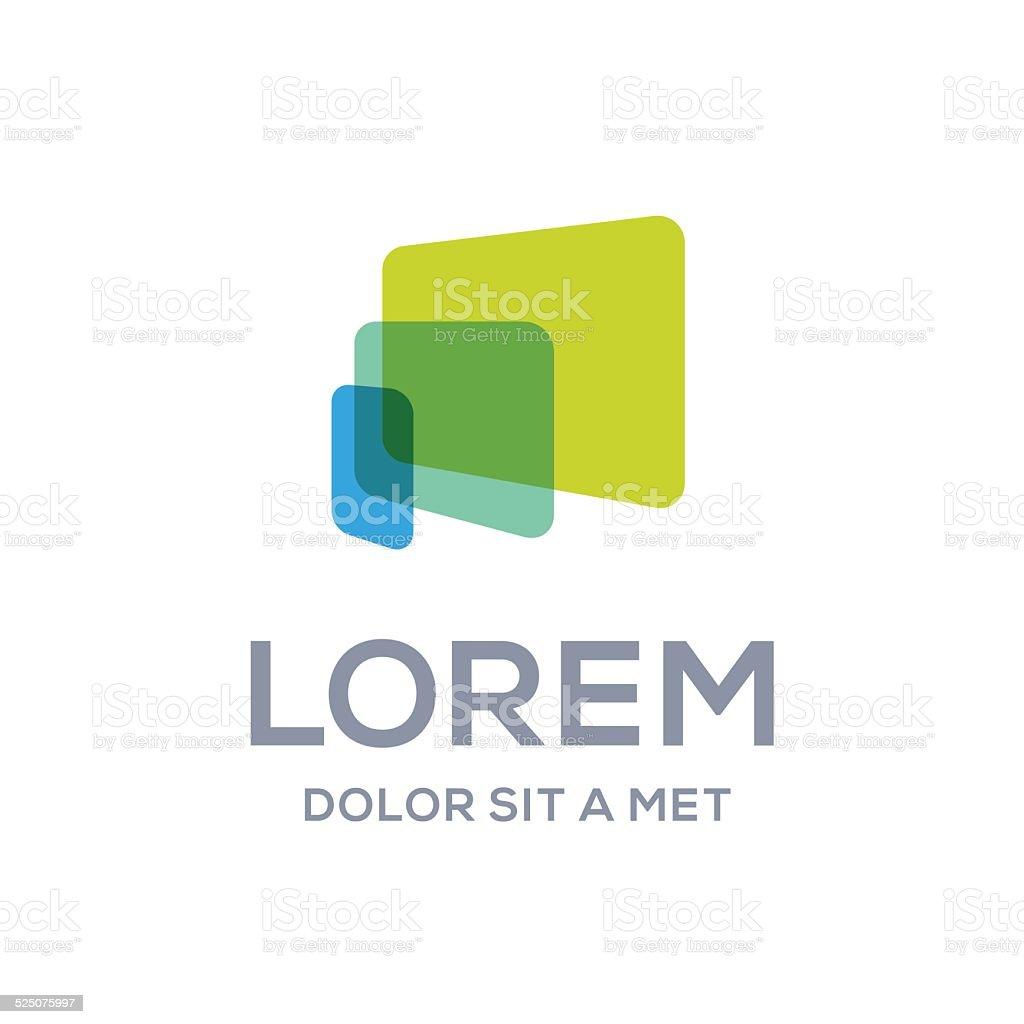 Computer laptop tablet phone emblem icon design template vector art illustration