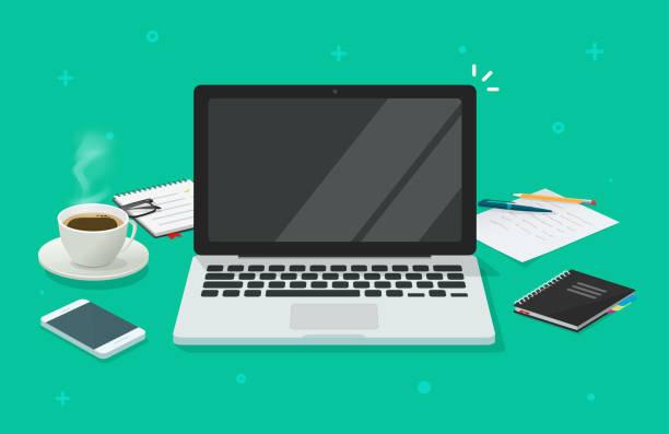 illustrazioni stock, clip art, cartoni animati e icone di tendenza di laptop per computer con schermo vuoto vuoto per copiare il testo dello spazio sul tavolo da tavolo o sull'illustrazione vettoriale del posto di lavoro cartone animato piatto, pc con display vuoto luogo di lavoro ufficio immagine di design moderna - laptop