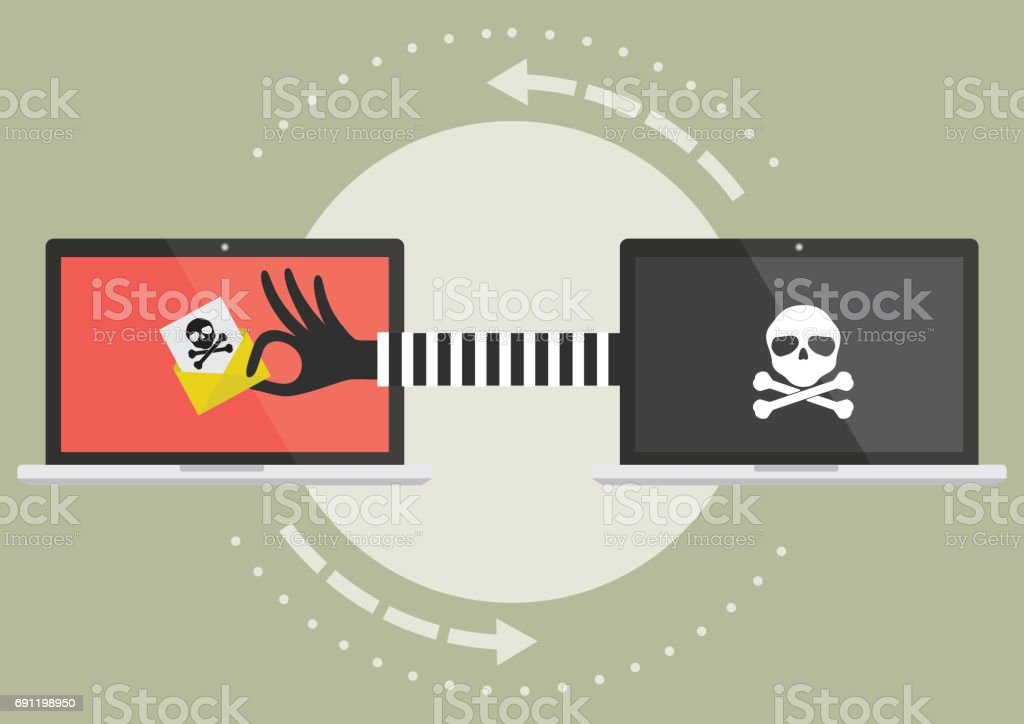 Computer laptop with hacker hand send suspicious email to victim laptop computer. Vector illustration cybercrime concept. Computer laptop with hacker hand send suspicious email to victim laptop computer. Vector illustration cybercrime concept. Ransomware stock vector