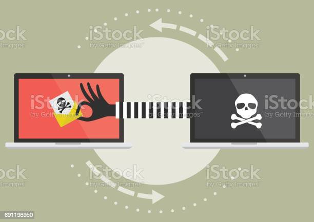 Computer Laptop With Hacker Hand Send Suspicious Email To Victim Laptop Computer Vector Illustration Cybercrime Concept Stock Illustration - Download Image Now