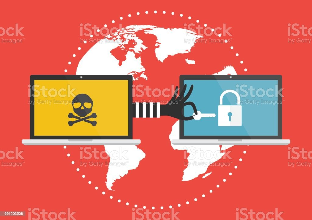 Computer laptop with hacker hand with a key for unlock victim laptop computer. Vector illustration cybercrime concept. vector art illustration
