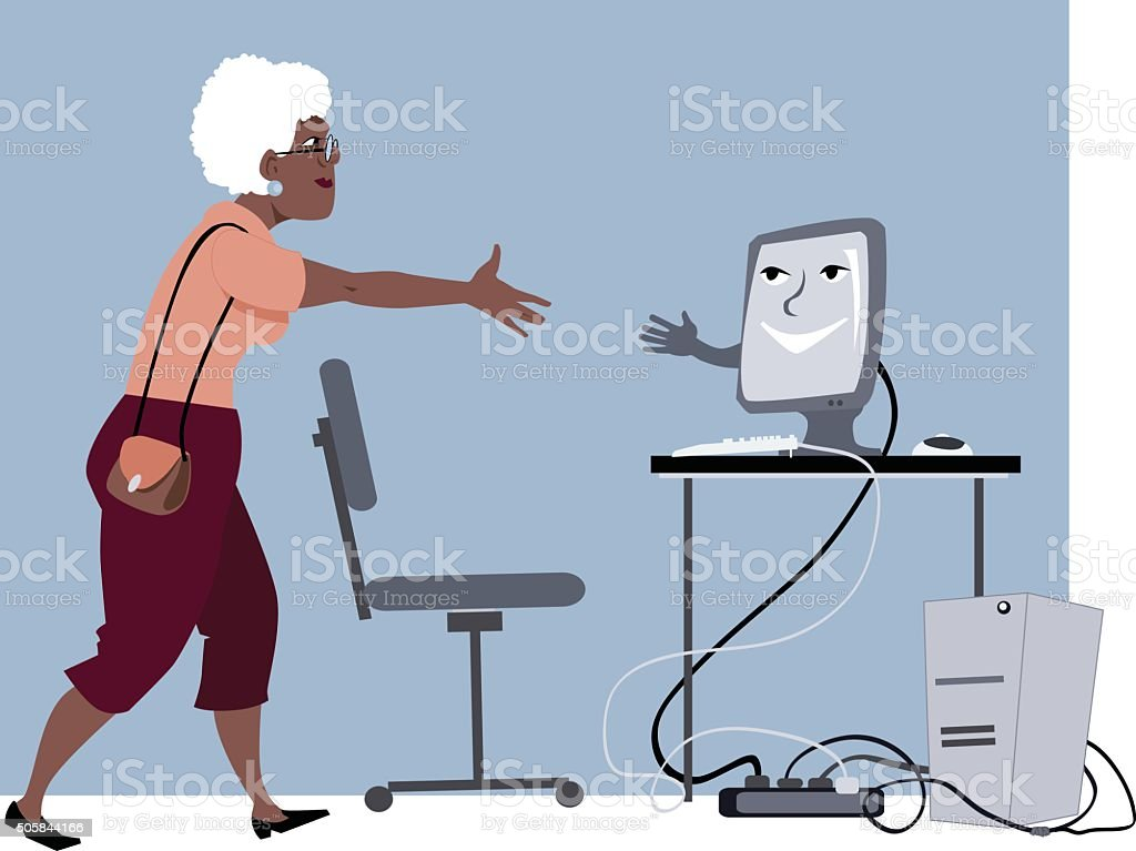 Computer lessons for seniors vector art illustration