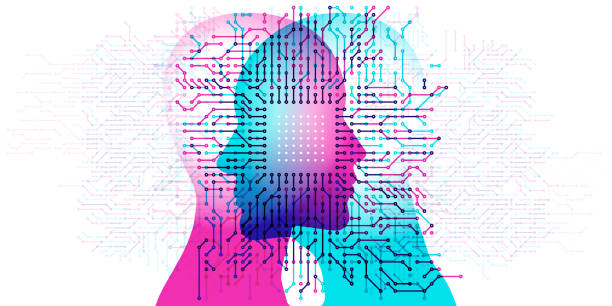 Computer Minds A computer circuit board pattern overlapping a female and male side profile. machine learning stock illustrations