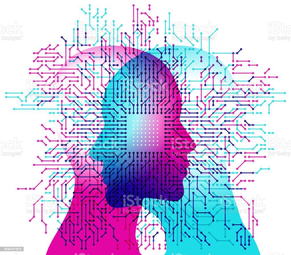 Mentes de computador de inteligência artificial - ilustração de arte em vetor