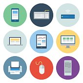 Computer & Mobile Device Icons — Circle Series