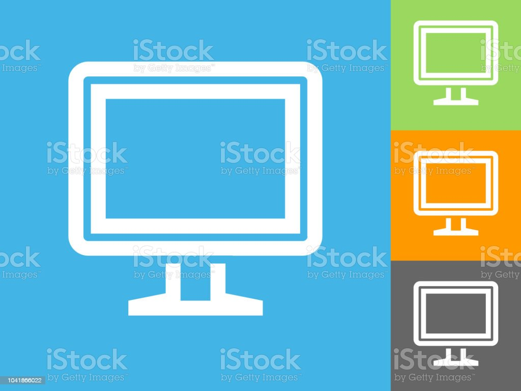 computer monitor flat icon on blue background stock vector art